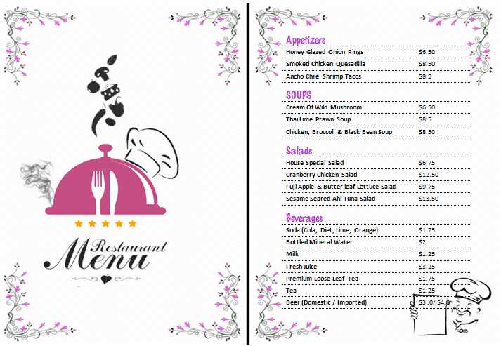 Ms Word Menu Template Best Of Ms Word Restaurant Menu