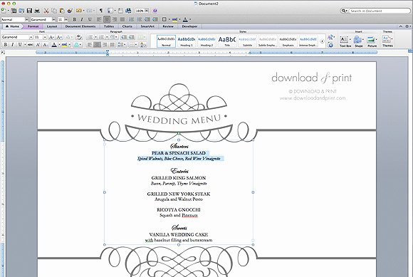 Ms Word Menu Template Inspirational Free Wedding Menu Template