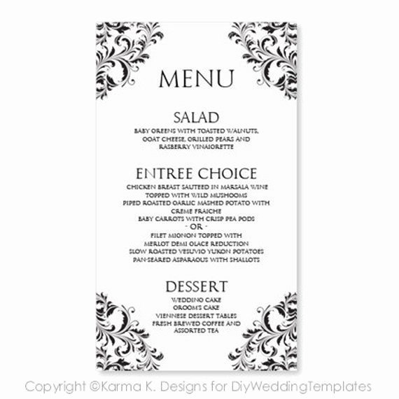 Ms Word Menu Template Inspirational Wedding Menu Card Template Download Instantly by