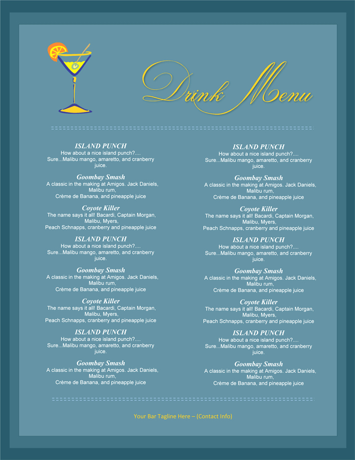 Ms Word Menu Template Unique 5 attractive Drink Menu Templates for Your Bar Business