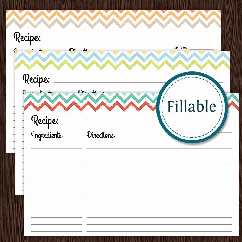 Ms Word Recipe Template Fresh Recipe Card Colourful Chevron Fillable 4x6 Recipe Card