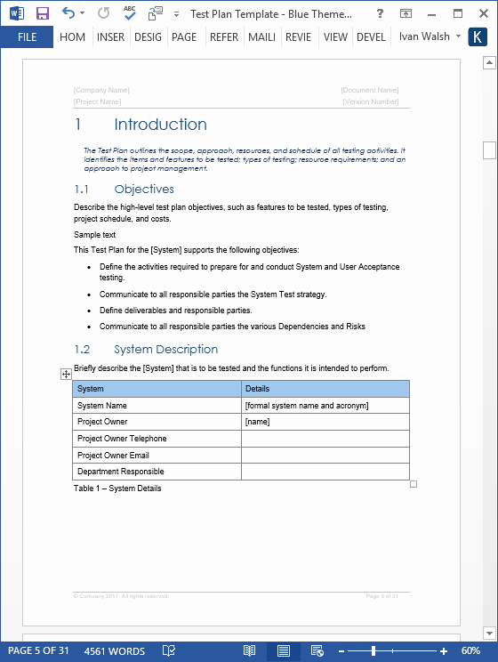 Ms Word Test Template Awesome Test Plan – Download Ms Word & Excel Template