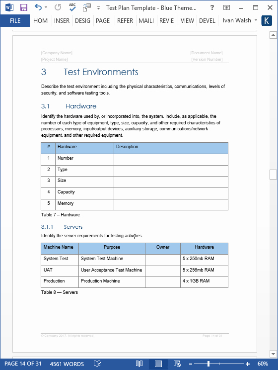 Ms Word Test Template Unique Test Plan – Download Ms Word & Excel Template