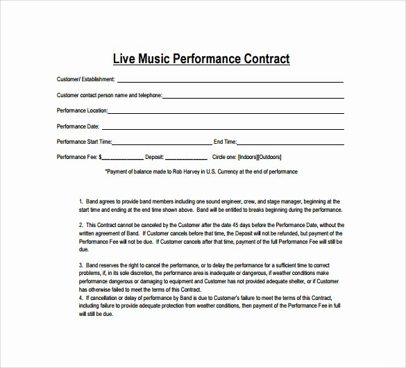Music Artist Contract Template Beautiful 15 Music Contract Templates