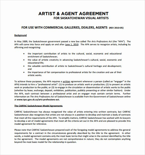 Music Artist Contract Template Best Of 14 Sample Artist Contract Templates Word Docs