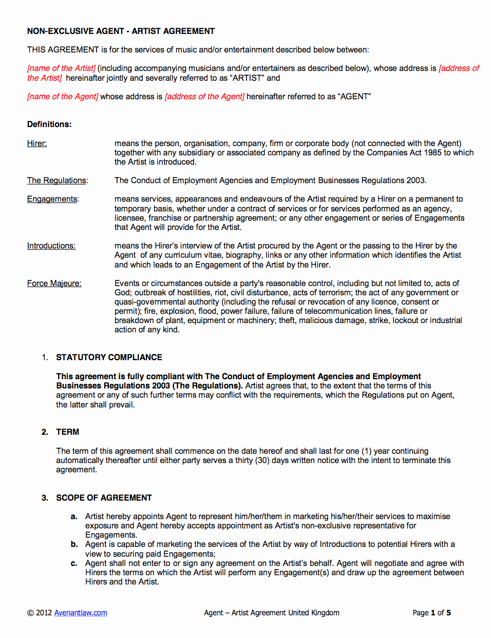 Music Artist Contract Template Best Of Agency Artist Contract Template Uk Use Only