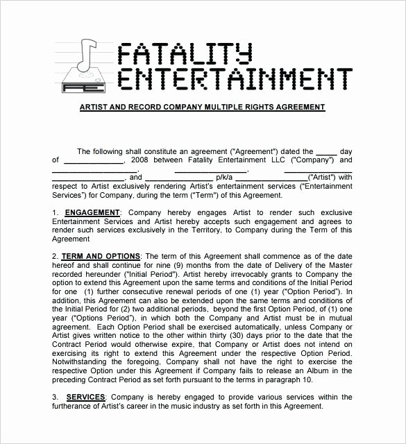 Music Artist Contract Template Elegant Mobile Contract Template Entertainment Music Band – Mklaw