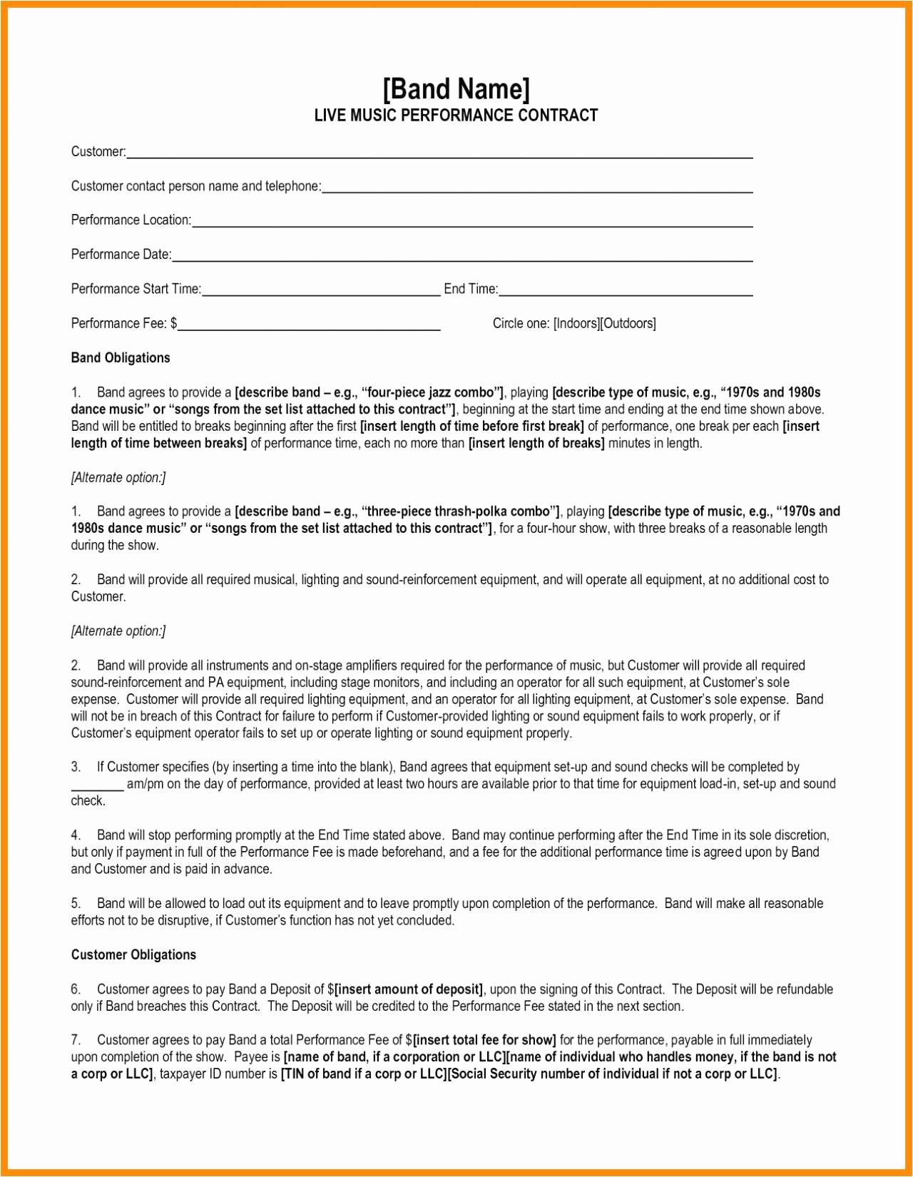 Music Artist Contract Template Fresh 30 Performance Contract Template Download