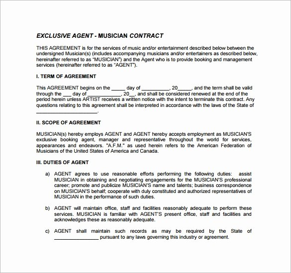 Music Artist Contract Template Inspirational 10 Booking Agent Contract Templates to Download