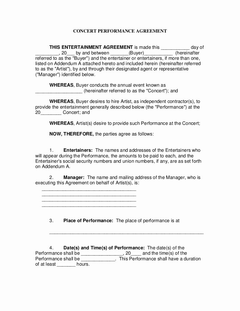 Music Artist Contract Template Inspirational Concert Performance Contract