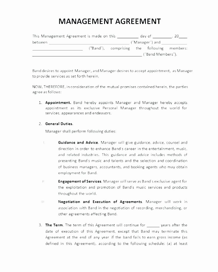 Music Artist Contract Template Inspirational Music Manager Contract Template – Arabnormafo