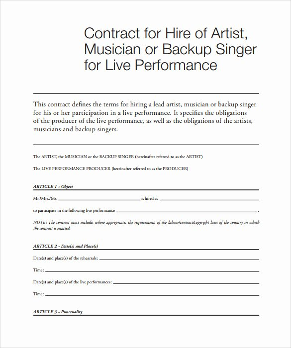 music contract template