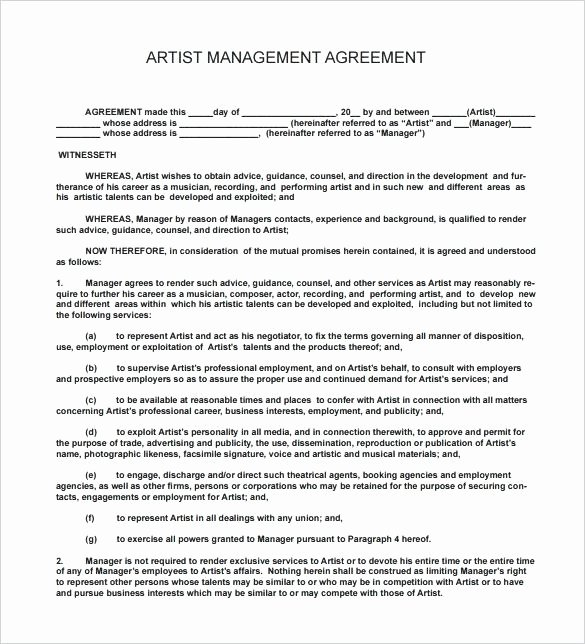 Music Artist Contract Template Lovely Beautiful Production Agreement Contract Template form