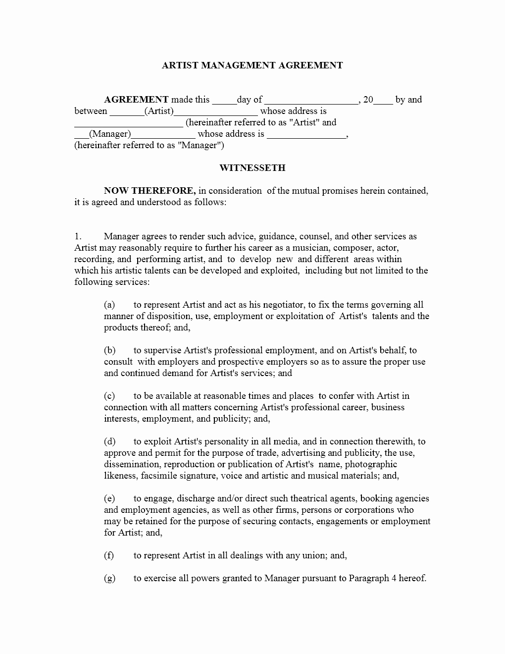 Music Artist Contract Template Luxury Artist Management Contract Template