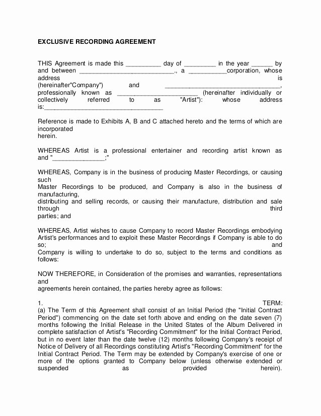 Music Artist Contract Template Luxury Artist Recording Contract 3