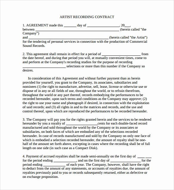 Music Artist Contract Template New 12 Sample Artist Contract Templates to Download for Free