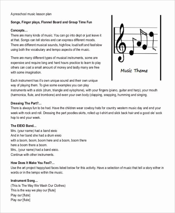 Music Business Plan Template Inspirational 10 Printable Preschool Lesson Plan Templates Free Pdf