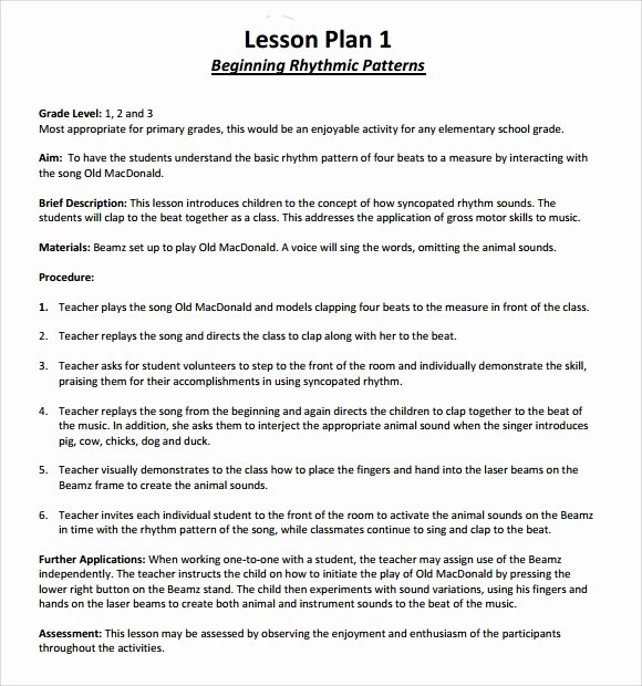 Music Business Plan Template Inspirational 9 Music Lesson Plan Templates Download for Free