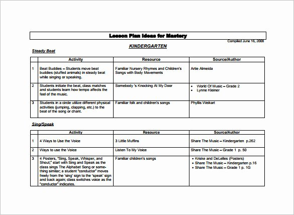 Music Business Plan Template Lovely Kindergarten Lesson Plan Template 3 Free Word Documents