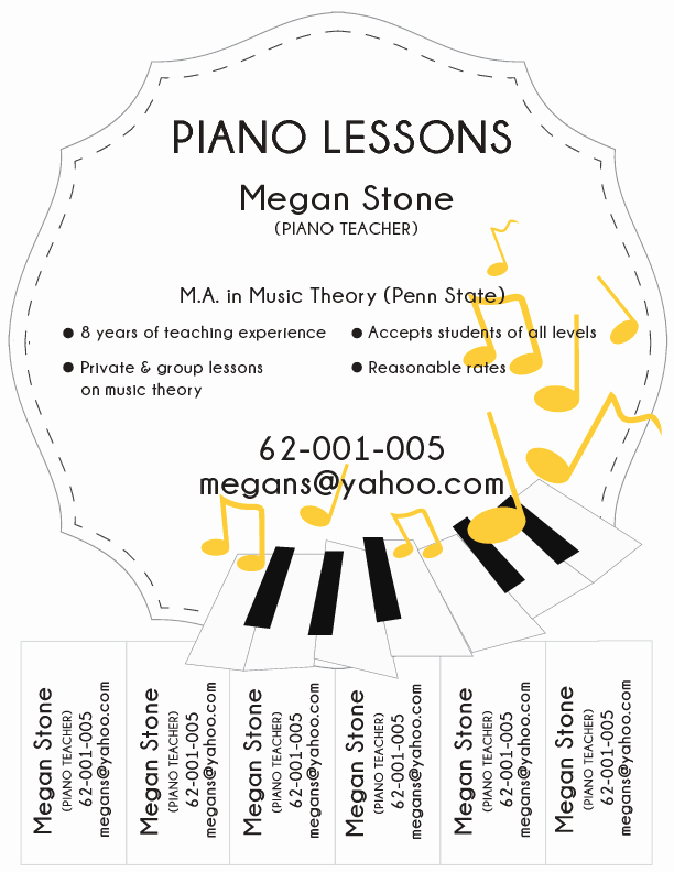 Music Lesson Flyer Template Awesome Sample Piano Lesson Flyer Wikihow