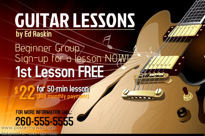 Music Lesson Flyer Template Beautiful Guitar Lessons Poster Template