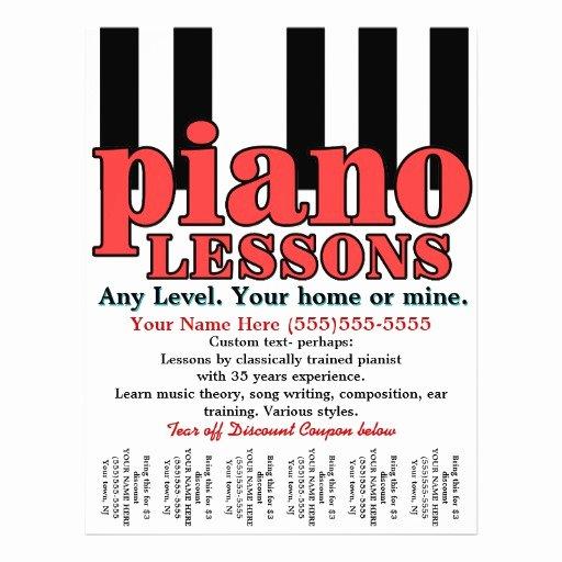 Music Lesson Flyer Template Beautiful Piano Lessons Tutor Music Teacher Tear Sheet Custom Flyer