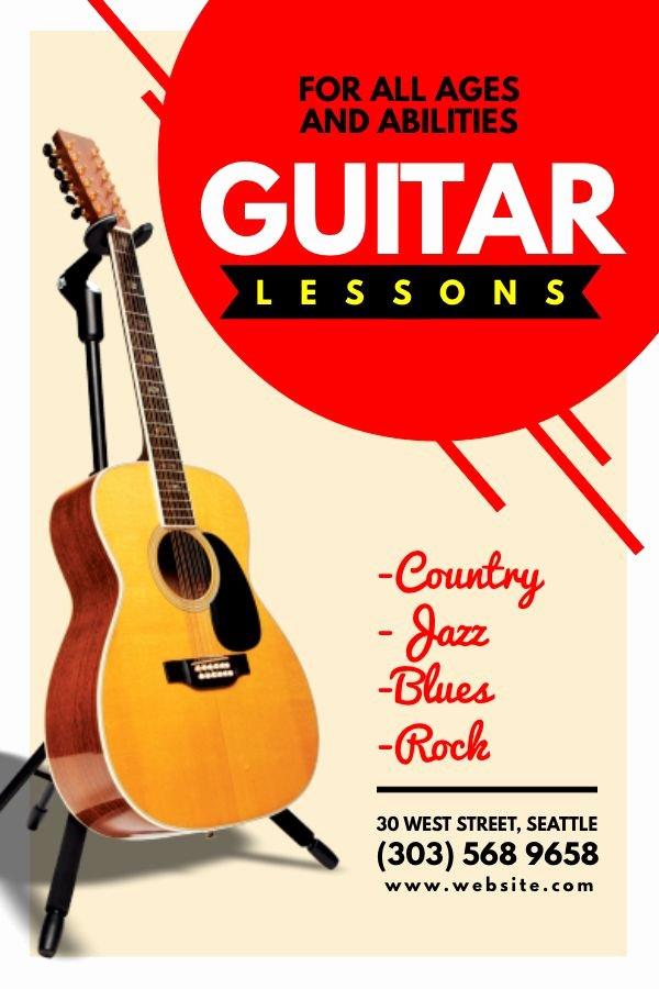 Music Lesson Flyer Template Elegant Guitar Lesson Advertisement Flyer Design