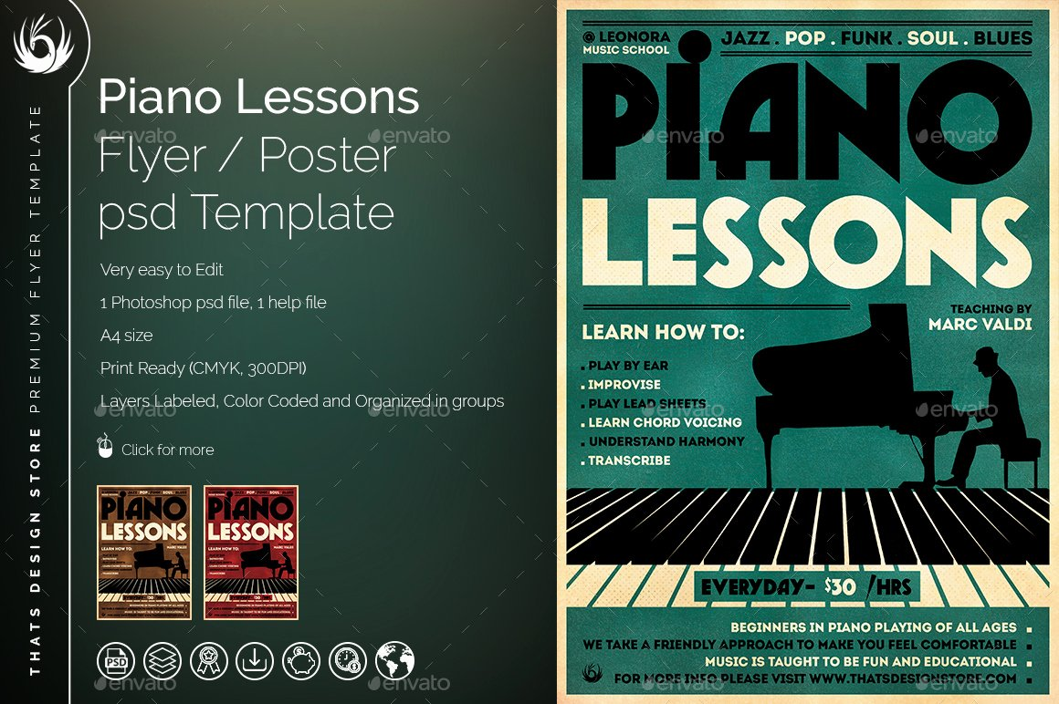 Music Lesson Flyer Template Elegant Piano Lessons Flyer Template by Lou606
