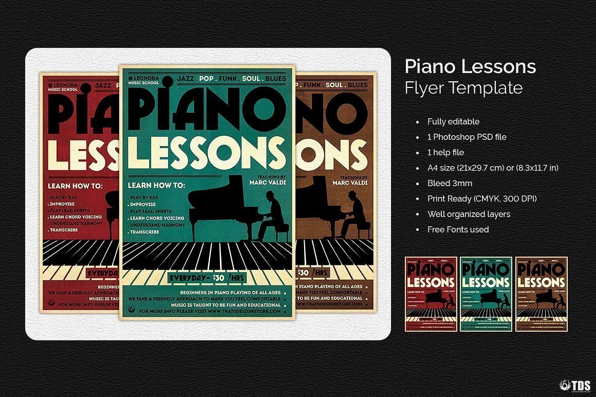 Music Lesson Flyer Template Elegant Piano Lessons Flyer Template