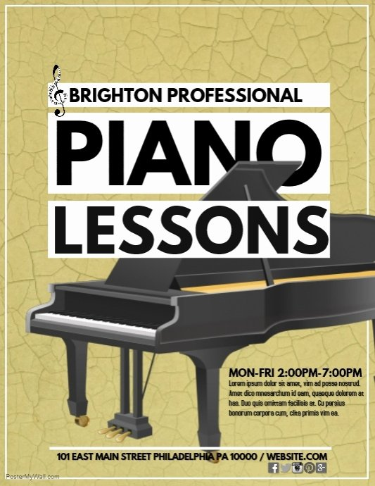 Music Lesson Flyer Template Luxury Piano Lessons Template