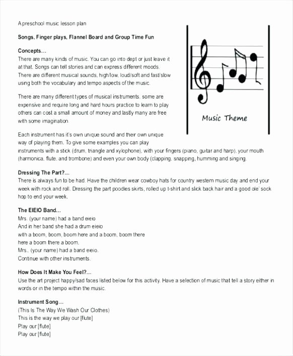Music Lesson Plan Template Beautiful Free Elementary Music Lesson Plan Template Bluebird