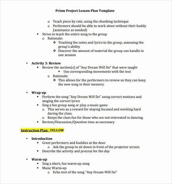 Music Lesson Plan Template Elegant 9 Music Lesson Plan Templates Download for Free