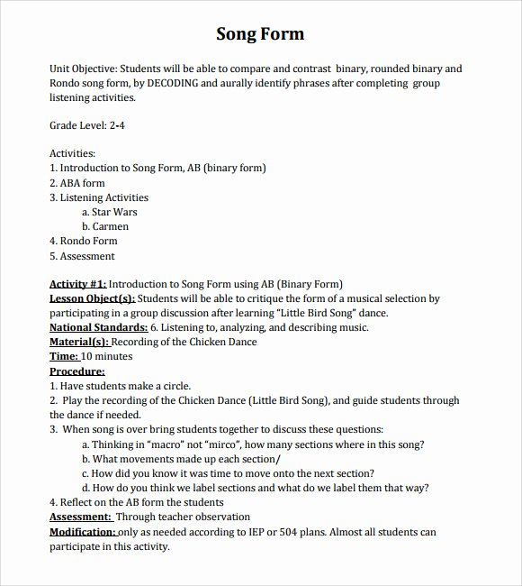Music Lesson Plan Template Fresh Music Lesson Plan Template 9 Download Free Documents In