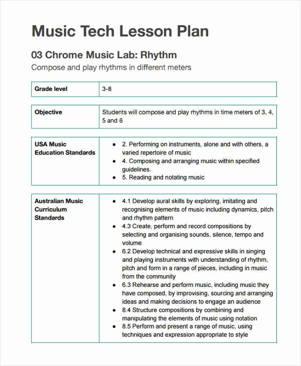 Music Lesson Plan Template Inspirational 11 Lesson Plan formats
