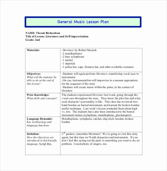 Music Lesson Plan Template Lovely 59 Lesson Plan Templates Pdf Doc Excel