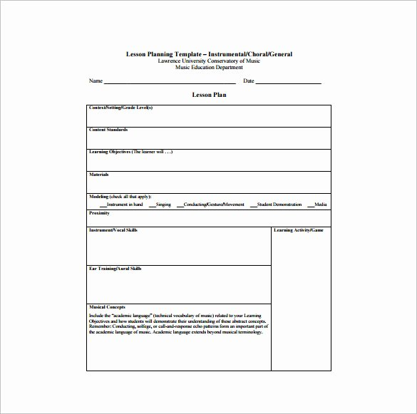 Music Lesson Plan Template Lovely Music Lesson Plan Template 6 Free Sample Example