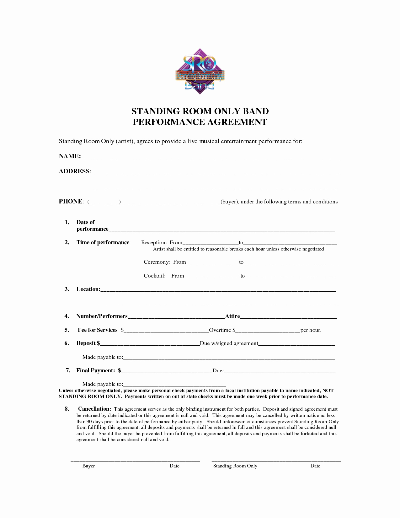 Music Performance Contract Template Beautiful Best S Of Artist Performance Contract Artist
