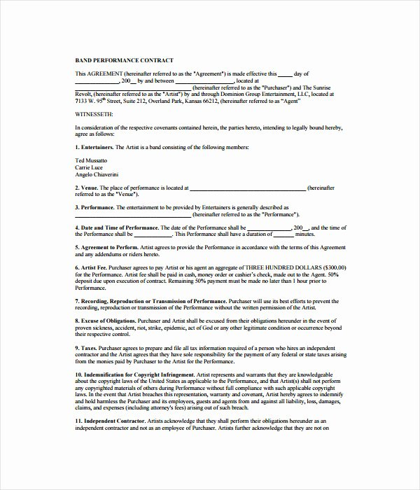Music Performance Contract Template Best Of 21 Contract Templates Free Word Pdf Documents Download