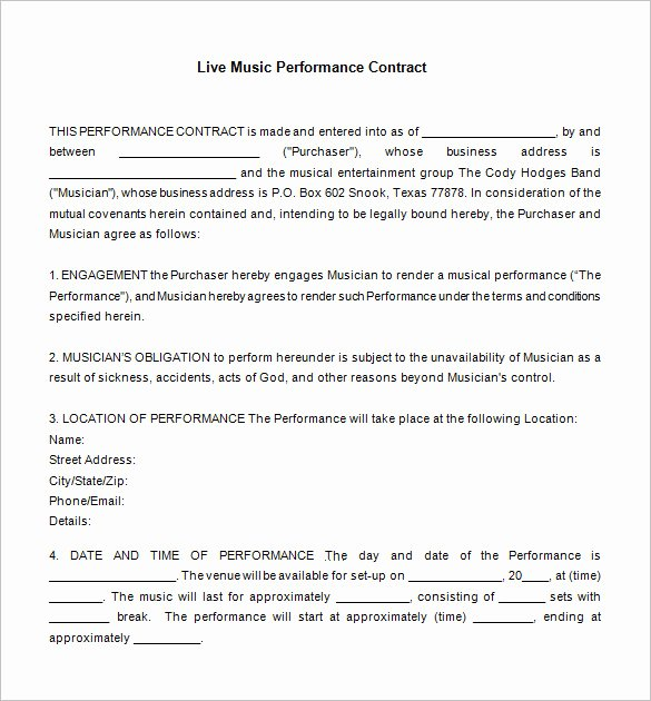 Music Performance Contract Template Elegant 20 Music Contract Templates Word Pdf Google Docs