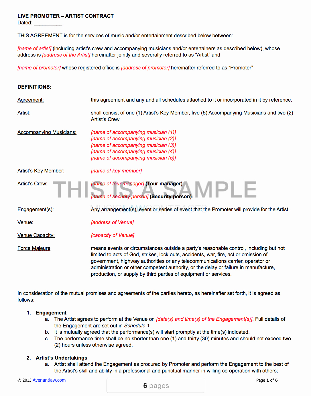 Music Performance Contract Template Fresh Live Promoter Artist Contract Template