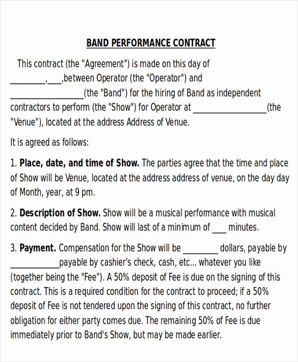 Music Performance Contract Template Inspirational 9 Performance Agreement Contract Samples