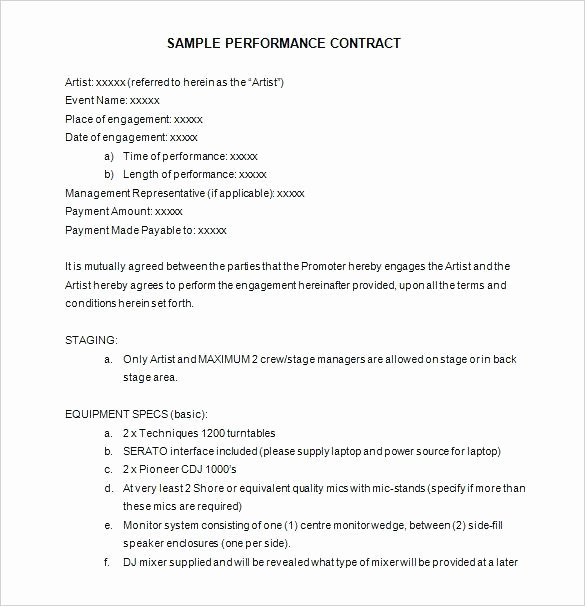 Music Performance Contract Template Lovely Performance Agreement Template Entertainment Contract