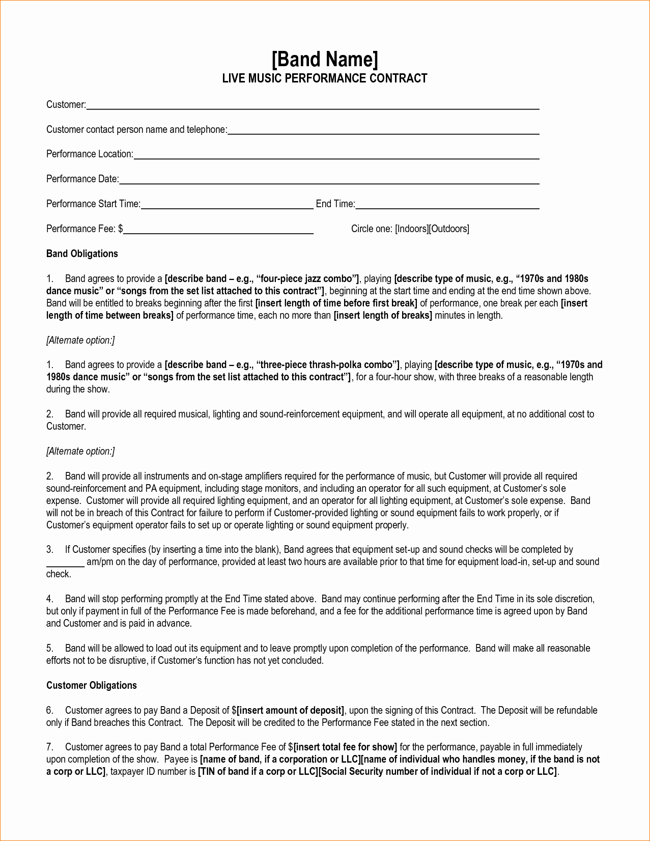 Music Performance Contract Template Luxury Contract Free Performance Contract Template Performance