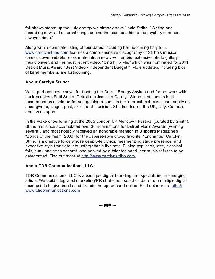 Music Press Release Template Beautiful Writing Sample Musician Press Release
