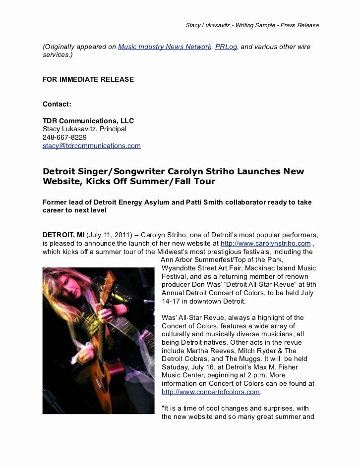 Music Press Release Template Best Of Writing Sample Musician Press Release