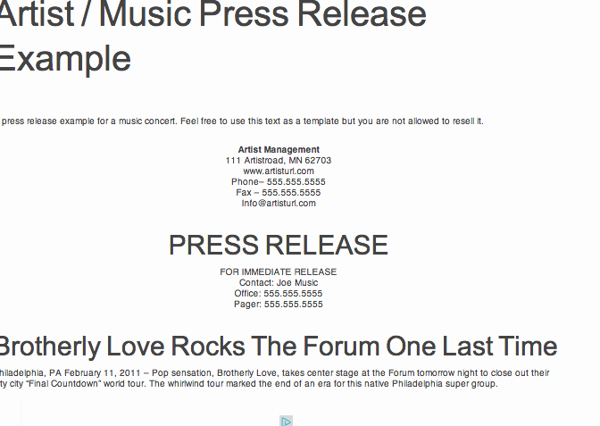 Music Press Release Template Fresh Reference for Press Kit assignment Example Of Press