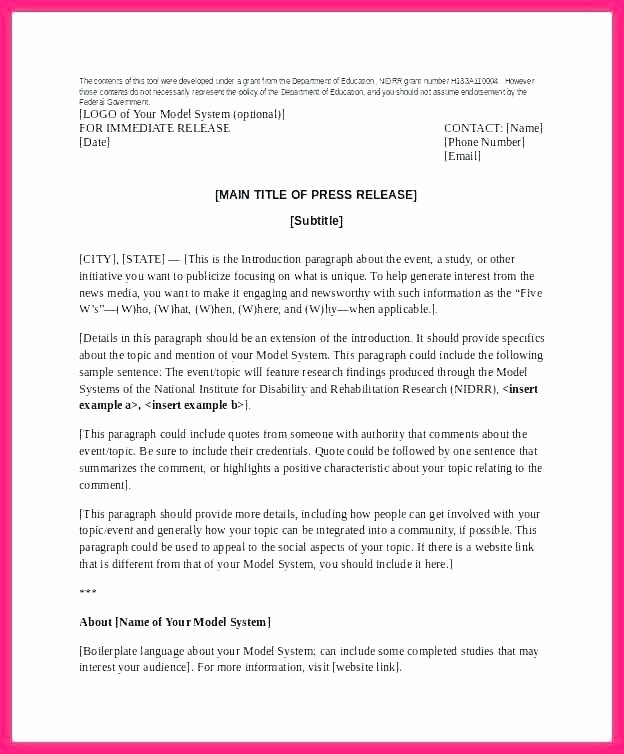 Music Press Release Template Inspirational Media Release Template Word event Press form social News