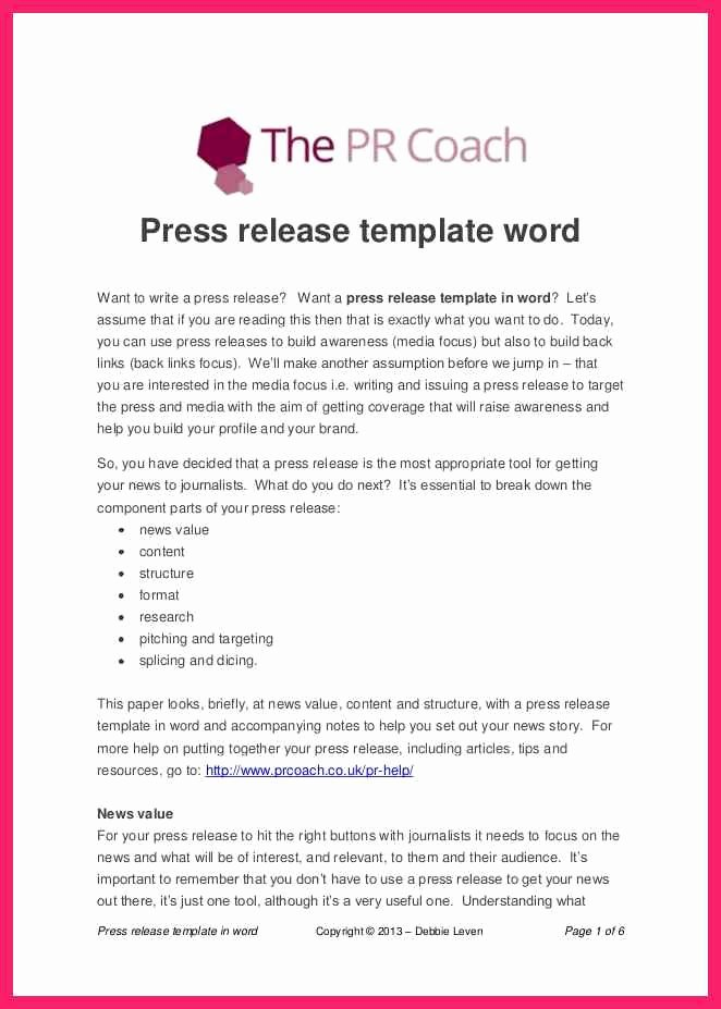Music Press Release Template New Press Release Template Word