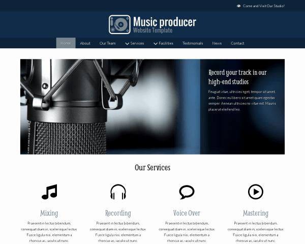 Music Producer Website Template Beautiful Websites Designs for Recording Studio