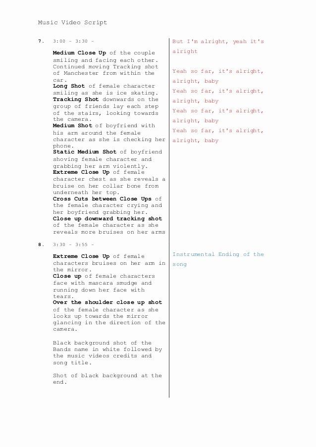 Music Video Script Template Beautiful Music Video Script